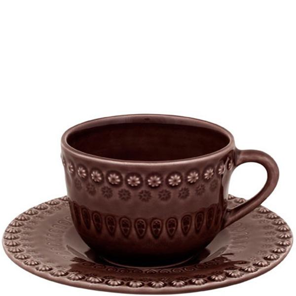 Чайная чашка с блюдцем Bordallo Pinheiro Фантазия коричневого цвета
