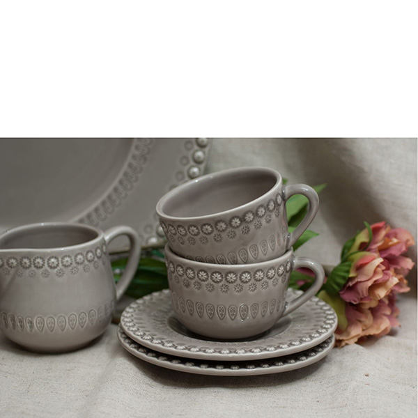 Набор из 6 чайных чашек с блюдцами Bordallo Pinheiro Фантазия коричневого цвета