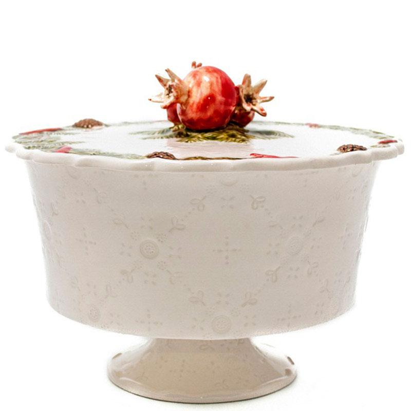 Конфетница с крышкой Bordallo Pinheiro Рождественская гирлянда белого цвета
