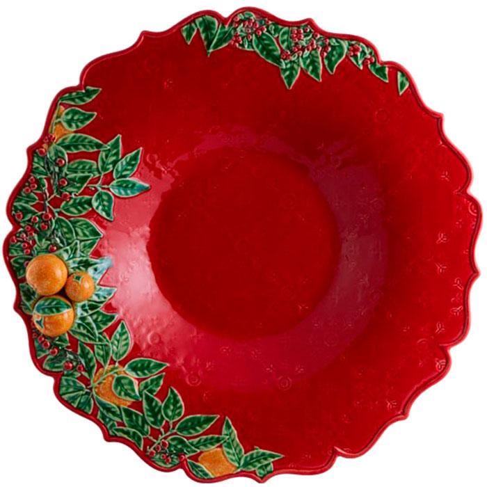 Блюдо красного цвета Bordallo Pinheiro Рождественская гирлянда 42см