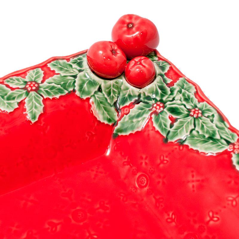 Блюдо Bordallo Pinheiro Рождественская гирлянда красного цвета 50см