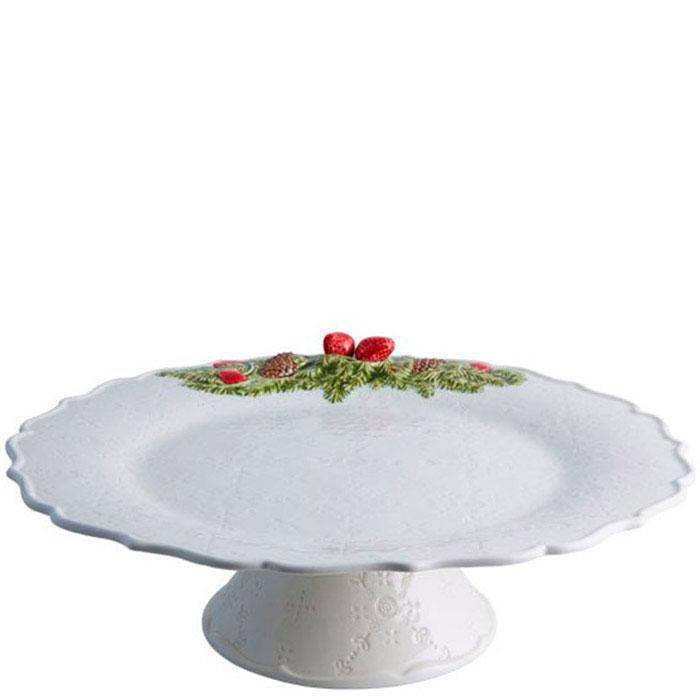 Тортовница белого цвета Bordallo Pinheiro Рождественская гирлянда