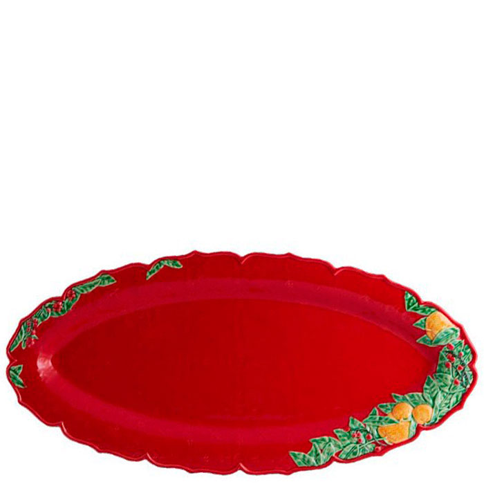 Большое овальное блюдо Bordallo Pinheiro Рождественская гирлянда красного цвета 55x26,5см