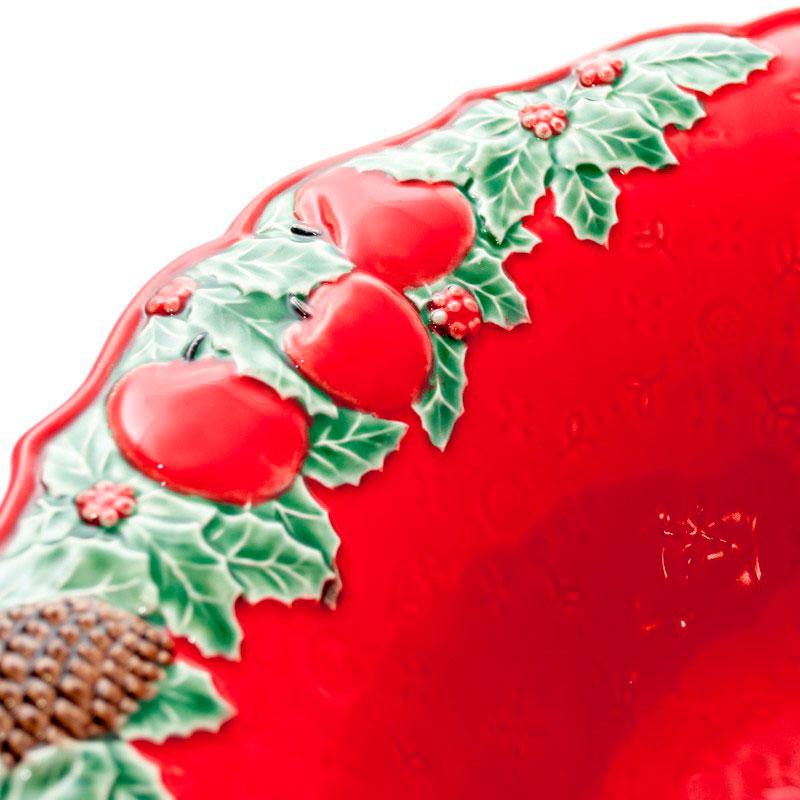 Салатник красного цвета Bordallo Pinheiro Рождественская гирлянда