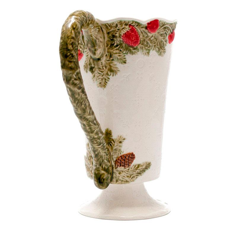 Кувшин из керамики белого цвета Bordallo Pinheiro Рождественская гирлянда 1,75л