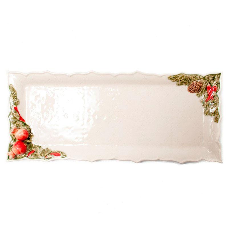 Керамическое блюдо Bordallo Pinheiro Рождественская гирлянда белого цвета 43x18,5см