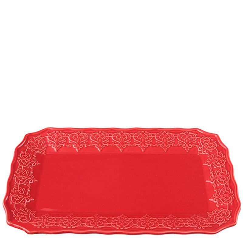 Блюдо Bordallo Pinheiro прямоугольной формы из керамики красного цвета