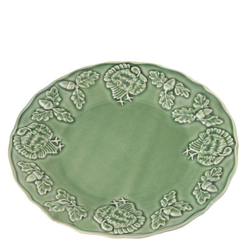 Тарелка Bordallo Pinheiro Индюк с узорами зеленая
