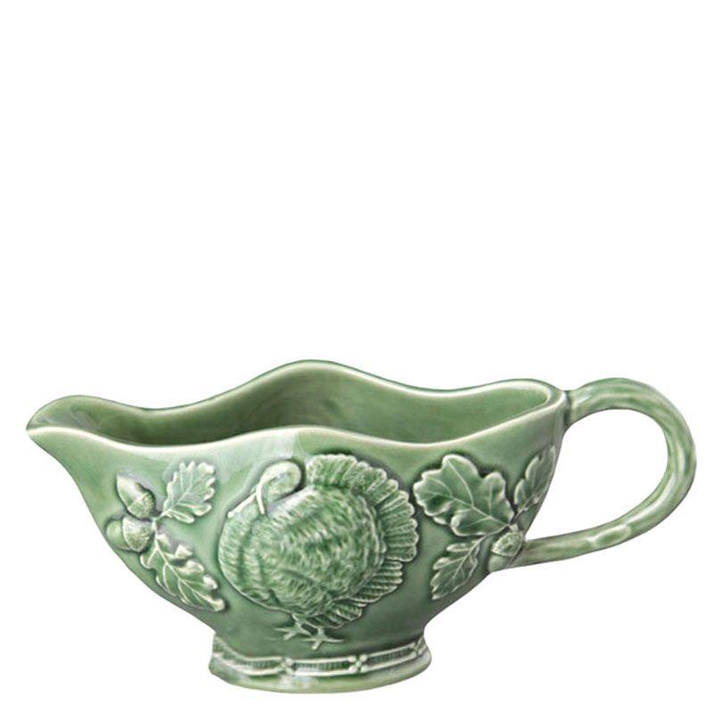 Соусник Bordallo Pinheiro зеленого цвета с изображением индюка
