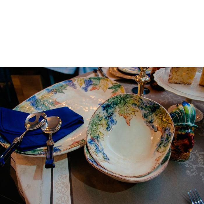 Набор приборов для салата Rivadossi Syrah с синими ручками