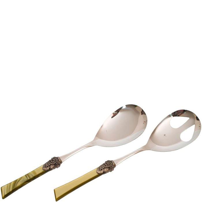 Набор приборов для салата Rivadossi Syrah с зелеными ручками