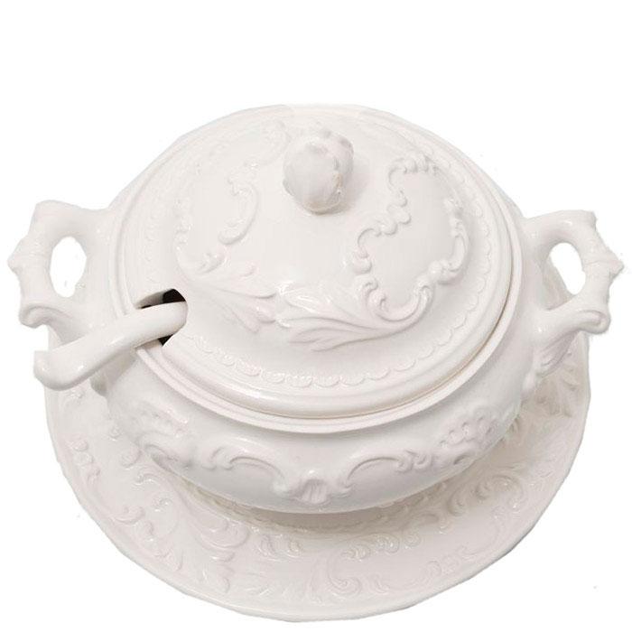 Супница Mastercraft с подставной тарелкой и ложкой белого цвета