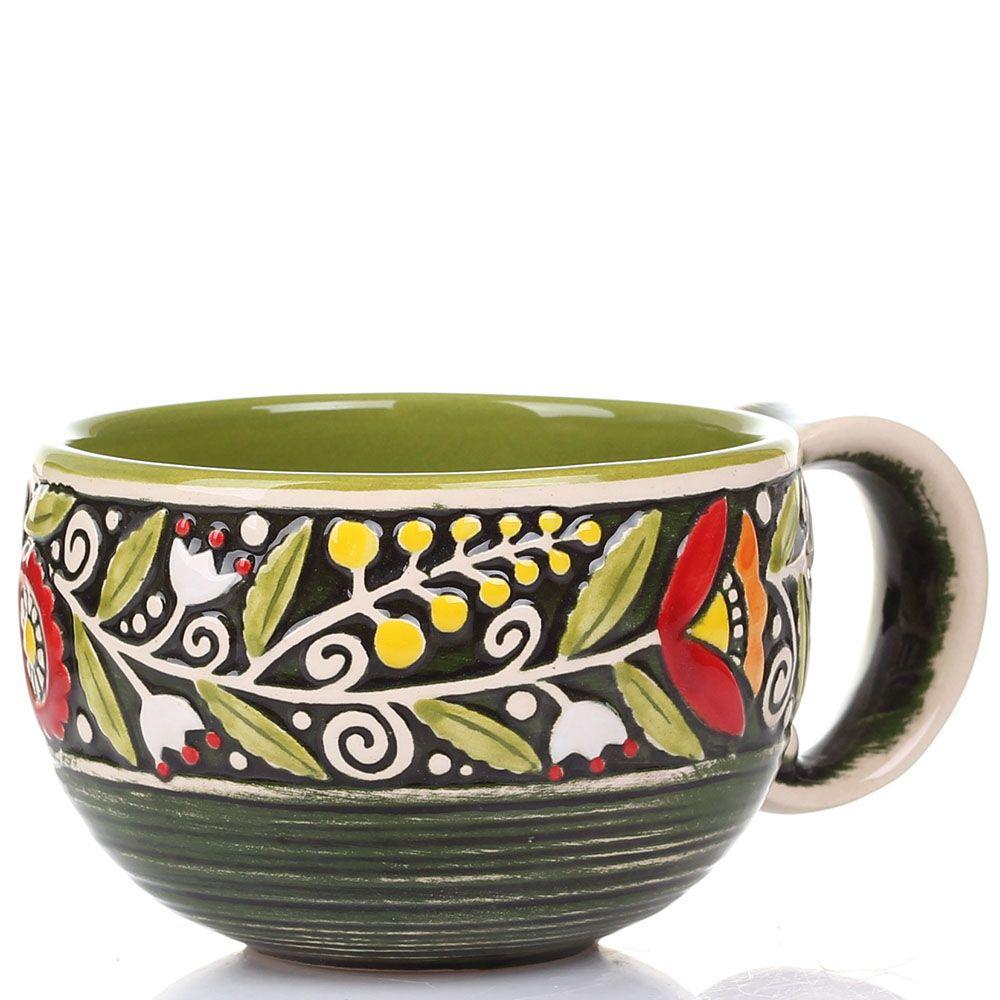 Набор из 2 чашек Manna Ceramics ручной работы зеленого цвета с цветами 300 мл
