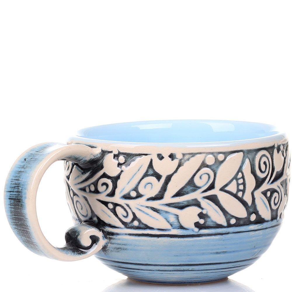 Набор из 2 чашек Manna Ceramics голубого цвета ручной работы разрисованная белой глазурью 300 мл