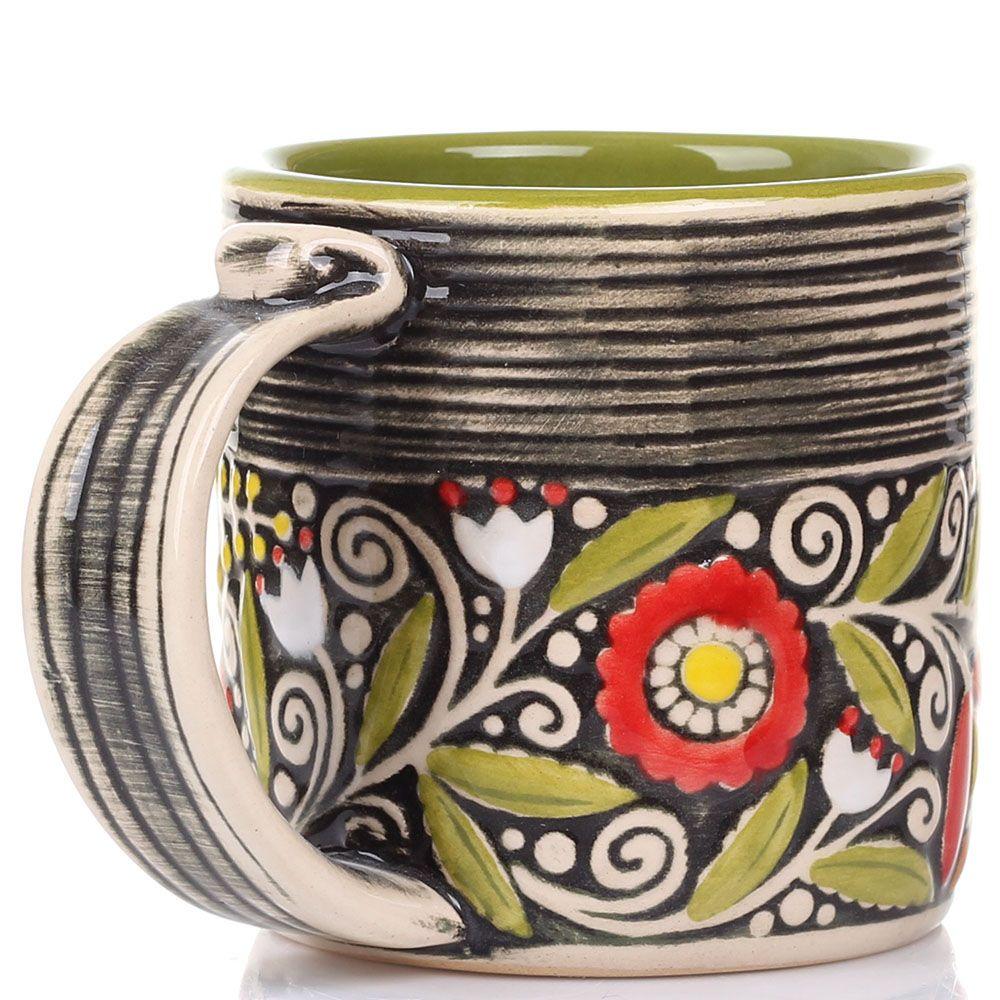 Набор из 2 кружек Manna Ceramics темно-зеленого цвета 400 мл