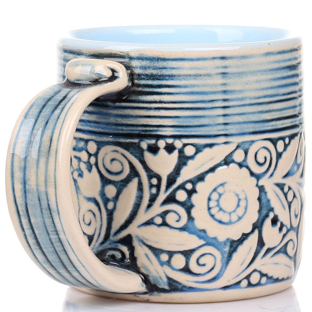 Набор из 2 кружек Manna Ceramics голубого цвета с флористической росписью 400 мл