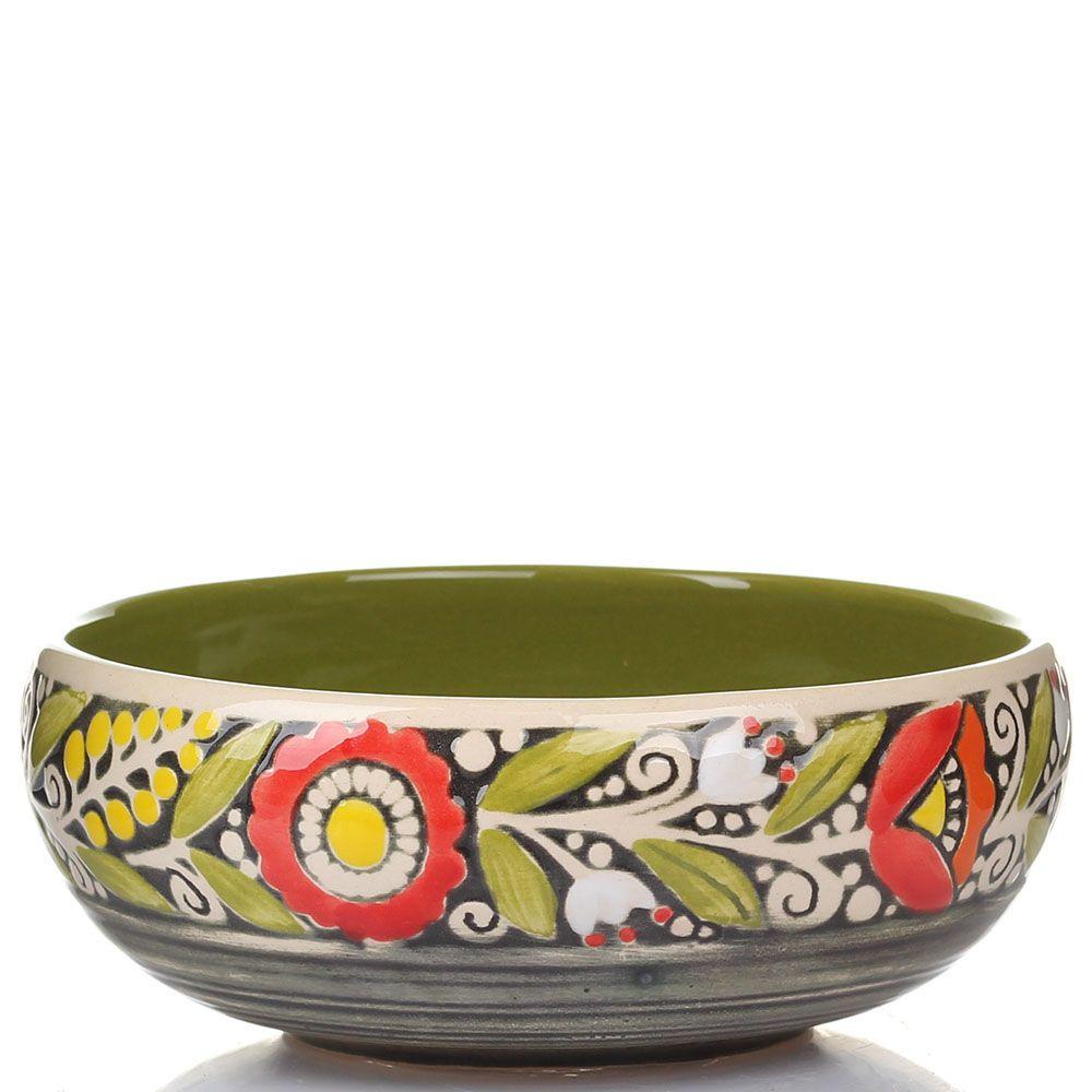 Набор из 2 пиал Manna Ceramics оливкового цвета с красными цветами 500 мл