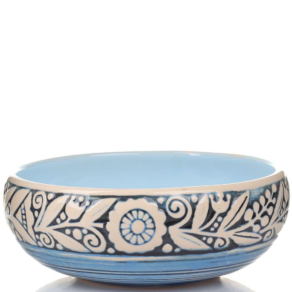 Набор из 2 пиал Manna Ceramics голубая с цветочным орнаментом белого цвета 500 мл