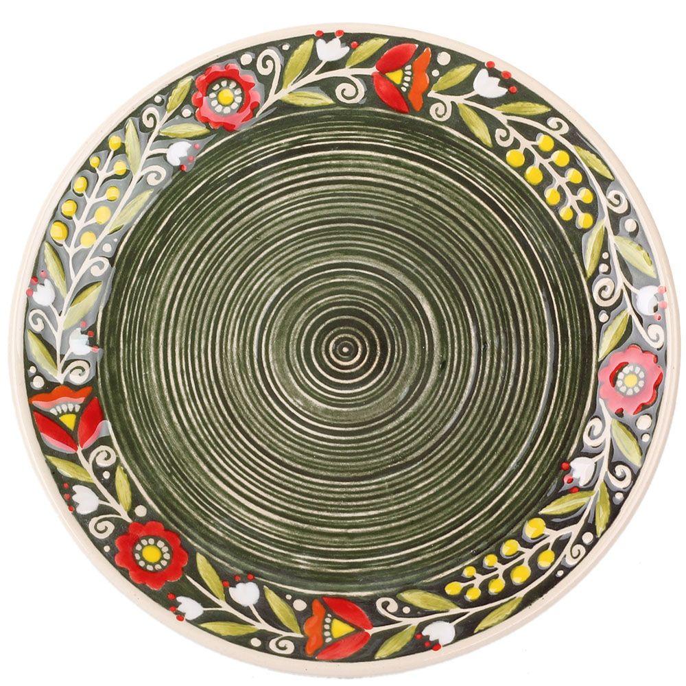 Набор из двух тарелок Manna Ceramics ручной работы зеленого цвета c расписной каймой 21 см