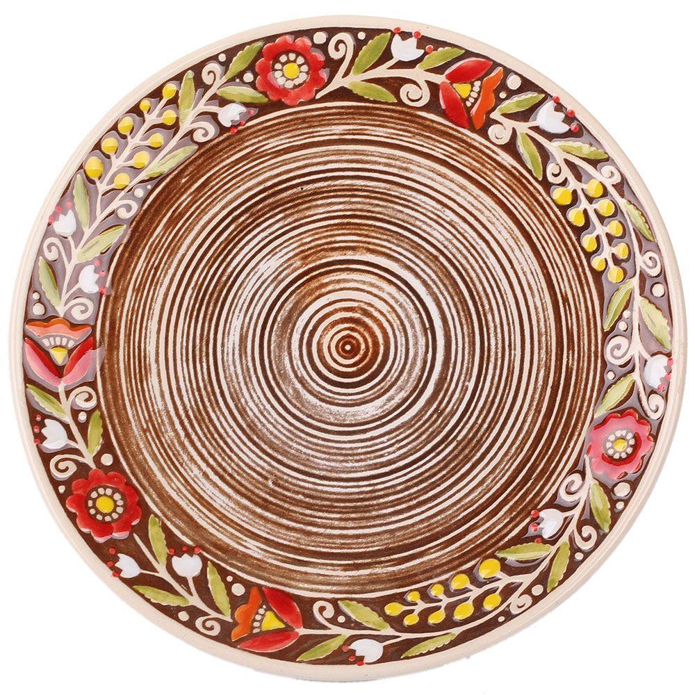 Набор из двух тарелок Manna Ceramics в красных цветах на коричневом фоне 21 см
