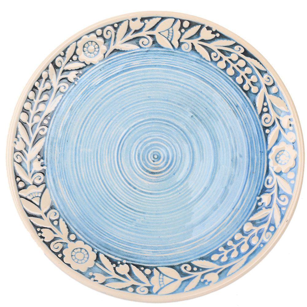 Набор из двух тарелок Manna Ceramics голубого цвета с ручной росписью белой глазурью 21 см