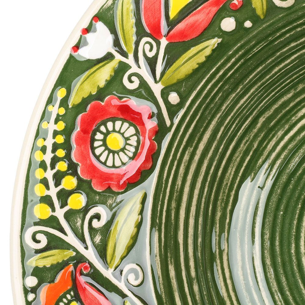 Набор из двух суповых тарелок Manna Ceramics зеленого цвета с ручной росписью 24 см