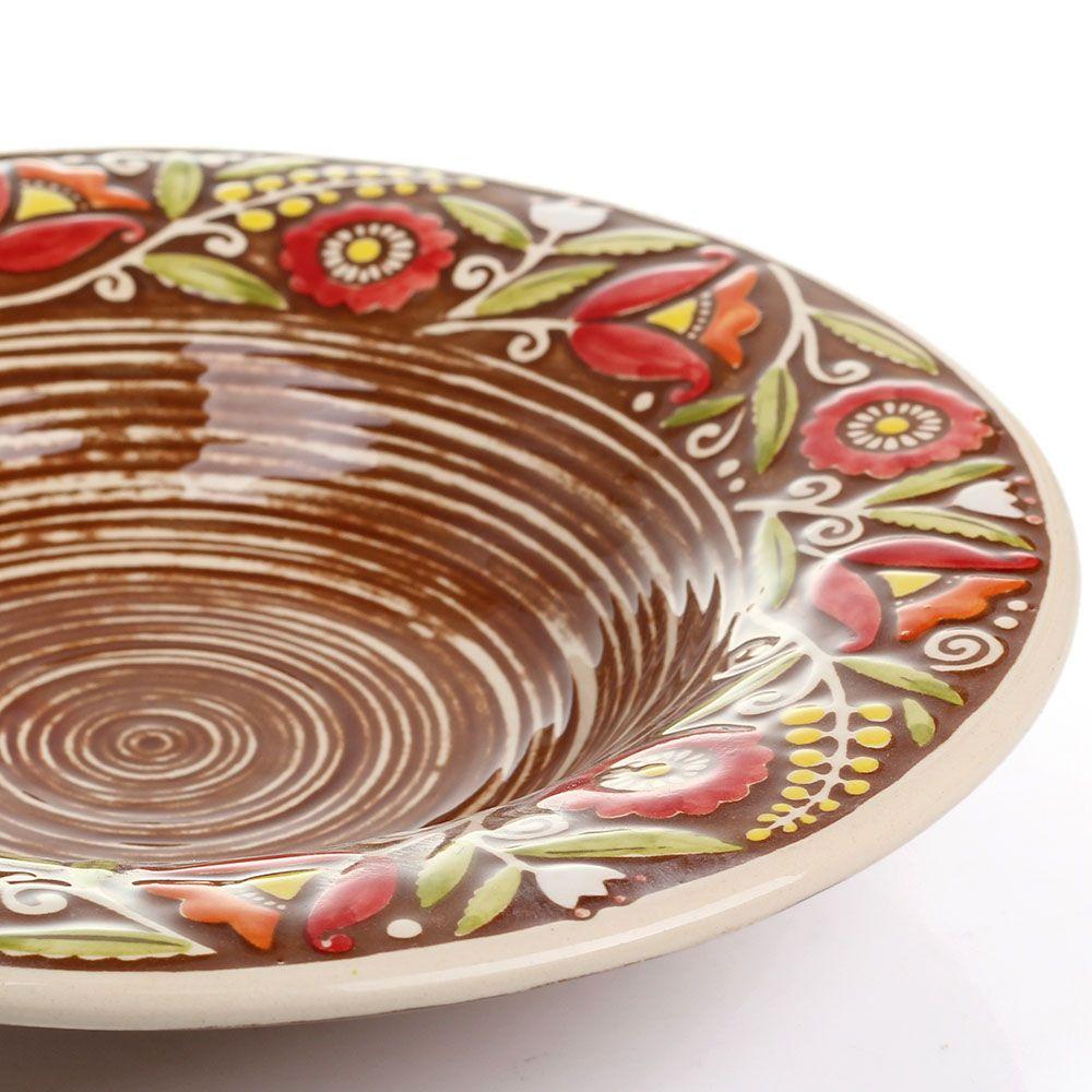 Набор из двух суповых тарелок Manna Ceramics коричневого цвета с ручной росписью 24 см