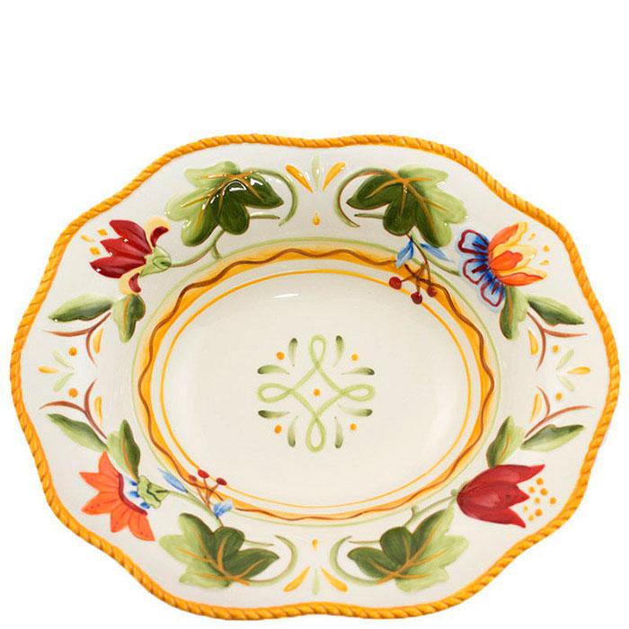 Керамическое блюдо Fitz and Floyd Тюльпаны с флористической росписью 32,5x26,5см