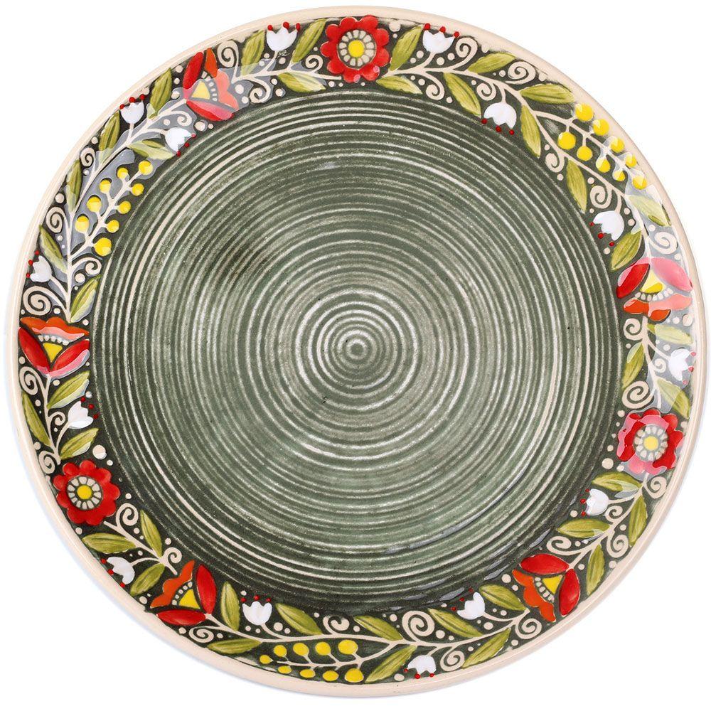 Набор из двух тарелок Manna Ceramics из керамики зеленого цвета 27 см