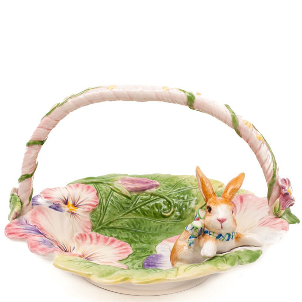Фруктовница Fitz and Floyd в виде корзинки с кроликом