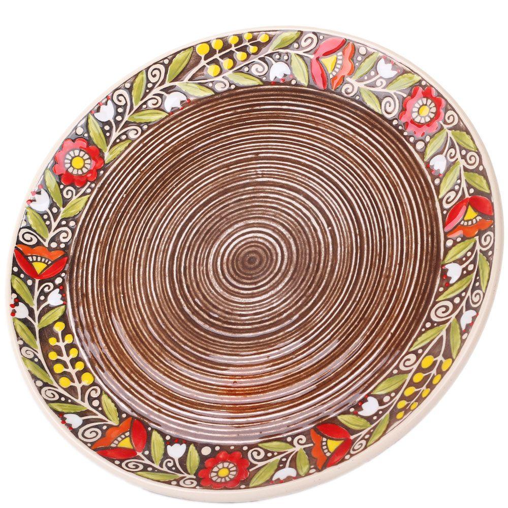 Набор из двух тарелок Manna Ceramics коричневого цвета с цветочным орнаментом 27 см