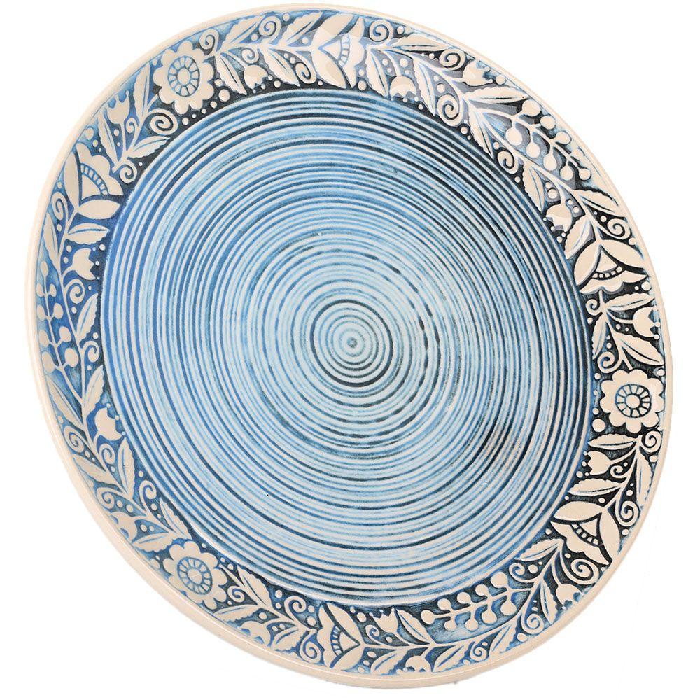 Набор из двух тарелок Manna Ceramics голубого цвета с орнаментом на ободке 27 см