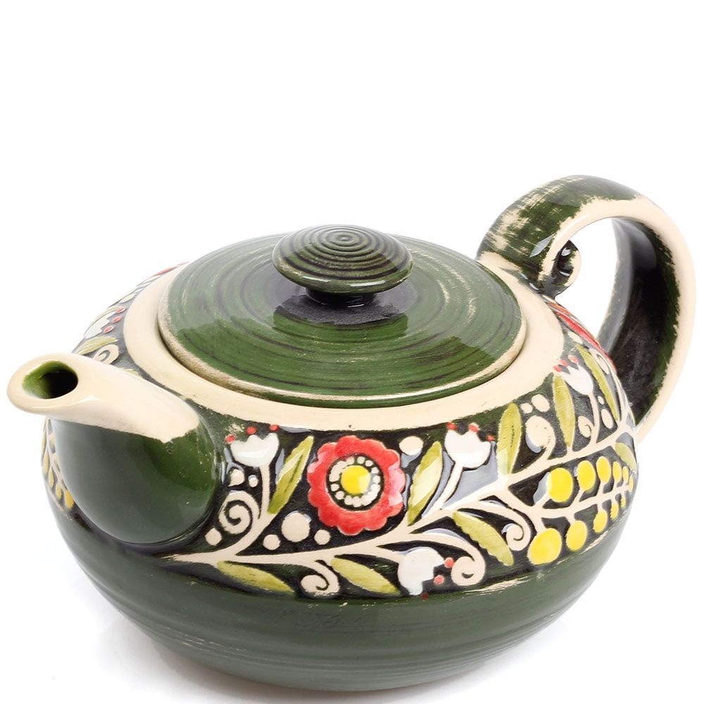 Керамический чайник Manna Ceramics зеленого цвета с цветами