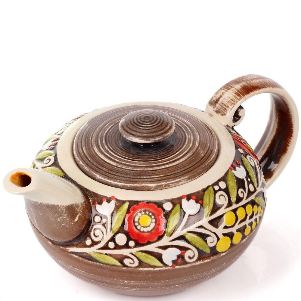 Керамический чайник Manna Ceramics коричневого цвета с цветами