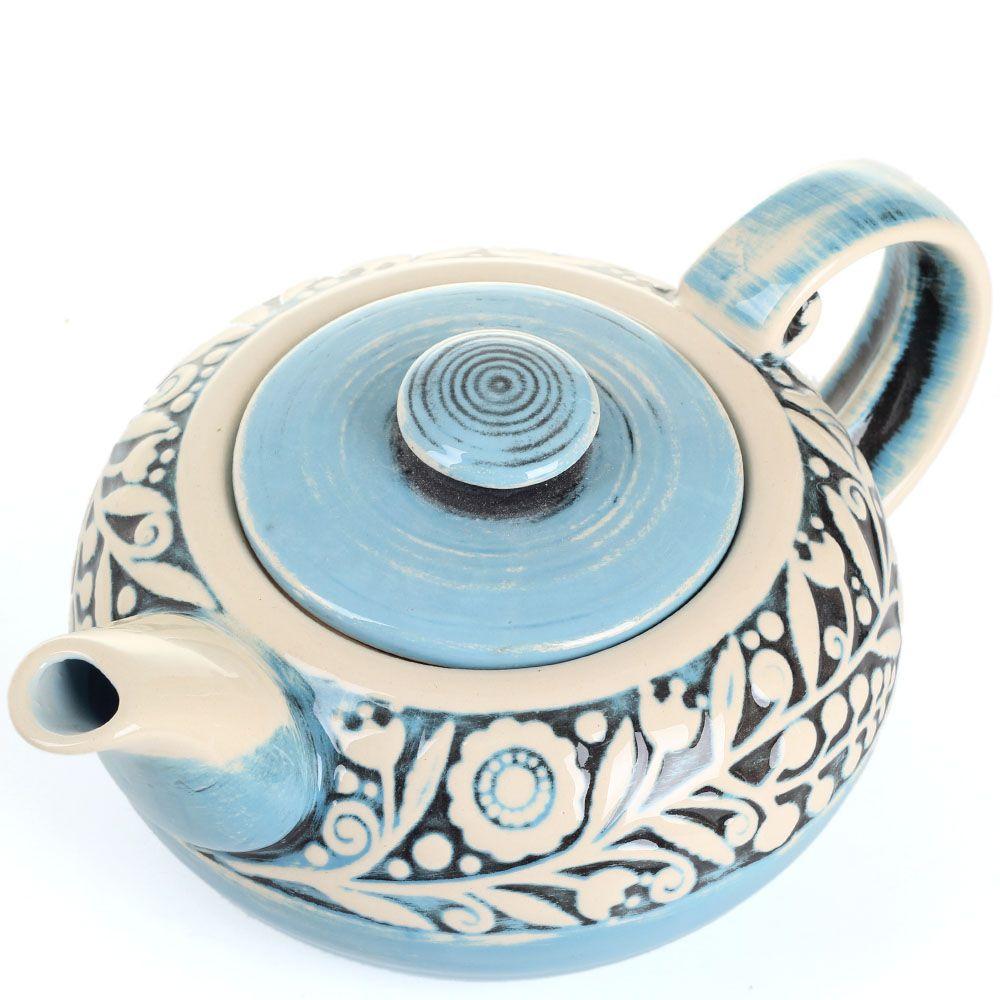 Керамический чайник Manna Ceramics голубого цвета с цветами