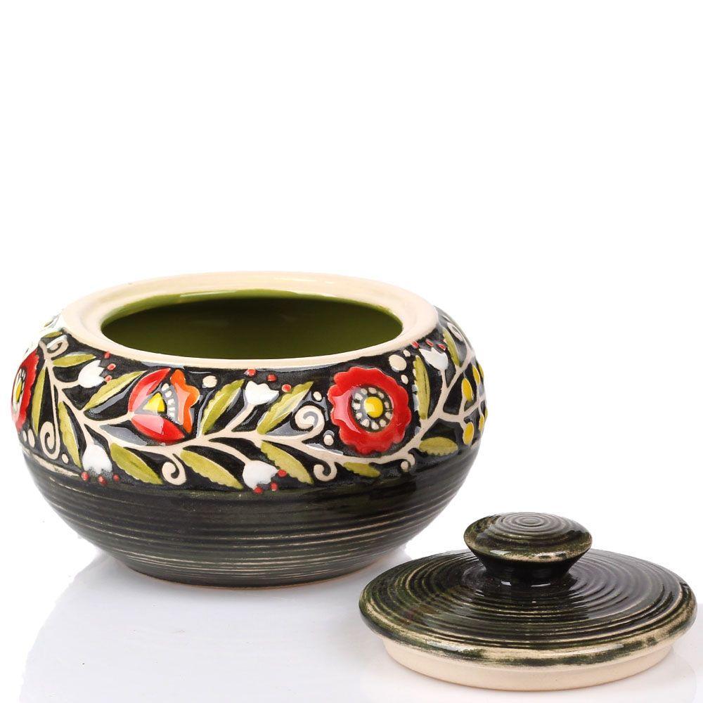 Расписная сахарница Manna Ceramics зеленого цвета с красными цветами