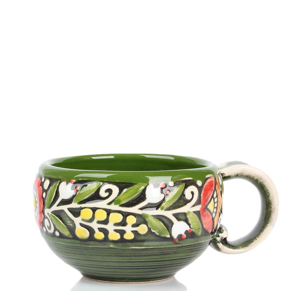 Кофейный набор Manna Ceramics зеленого цвета ручной работы разрисованная глазурью