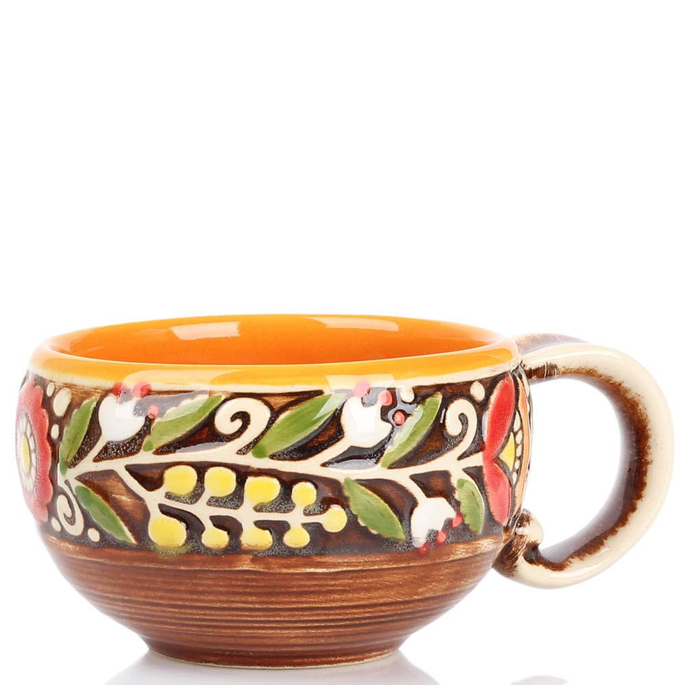 Кофейный набор Manna Ceramics оранжевого цвета ручной работы разрисованная глазурью 150 мл