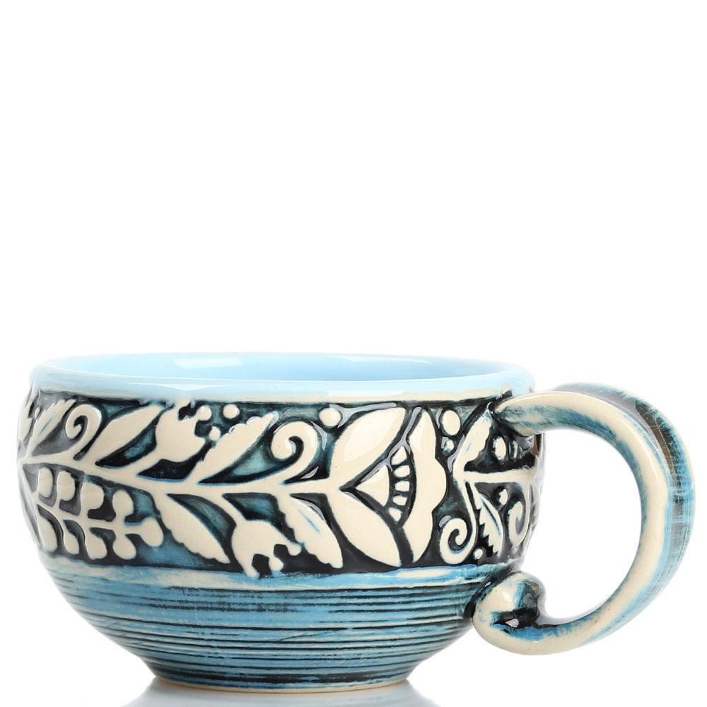 Кофейный набор Manna Ceramics голубого цвета ручной работы разрисованная белой глазурью 150 мл