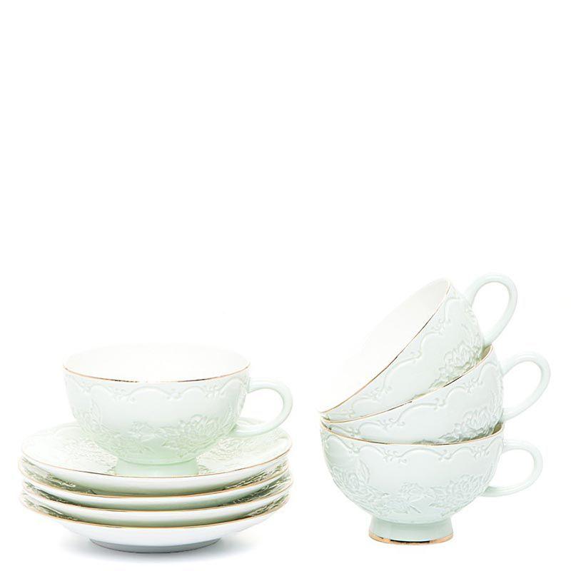 Чайный набор Pavone на четыре персоны Лаце Росса зеленый