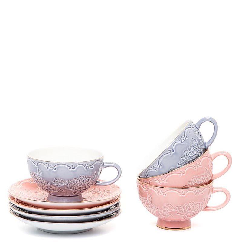 Чайный набор Pavone на четыре персоны Дольче Луиза розово-сиреневый