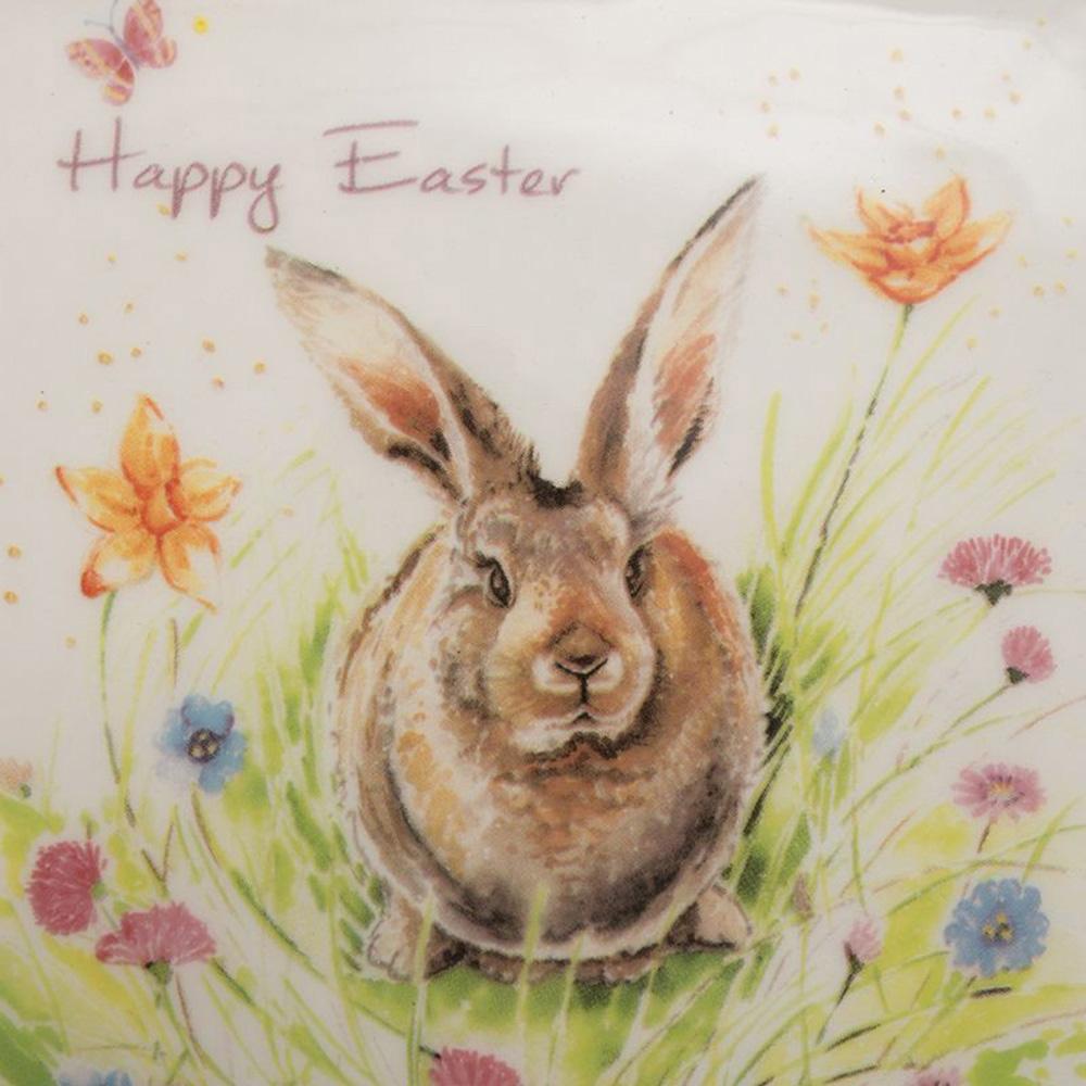 Квадратная тарелка Ceramica Cuore Кролик на лужайке