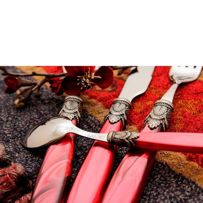 Набор столовых приборов на 6 персон Domus&Design Искья красного цвета