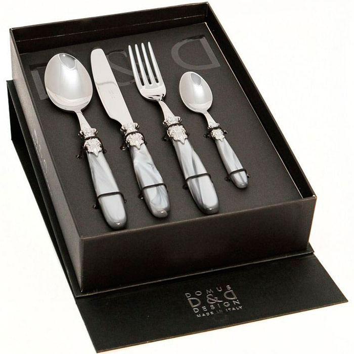 Набор столовых приборов на 6 персон Domus&Design Париж серого цвета