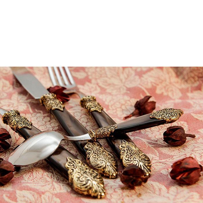 Набор столовых приборов на 6 персон Domus&Design Версаль коричневого цвета