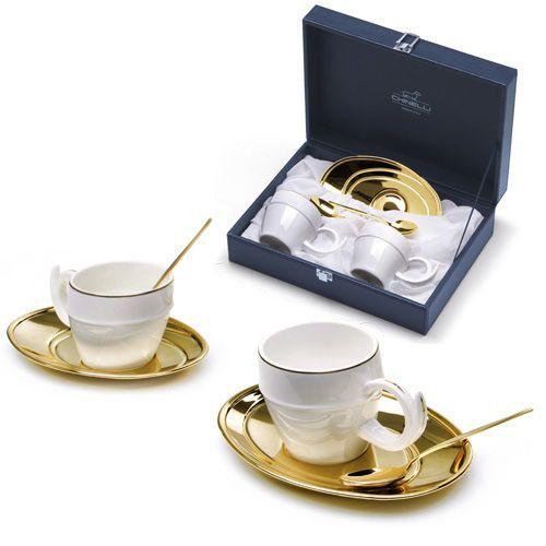 Чайная пара Chinelli «Политические решения» позолоченная в подарочном футляре