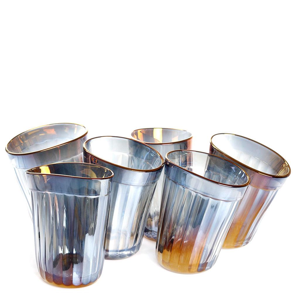 Набор из 6 граненых стаканов Fomichov Brothers Пьяное Стекло в деревянном ящике