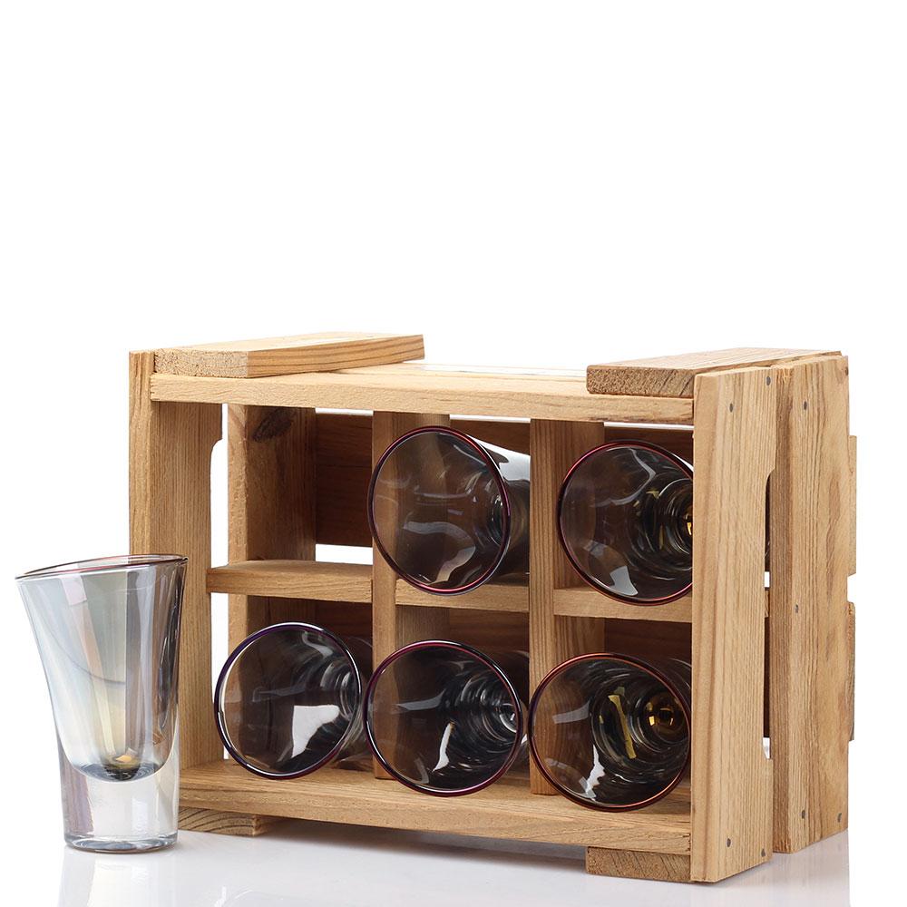Набор из 6 стопок Fomichov Brothers Пьяное стекло в деревянном ящике