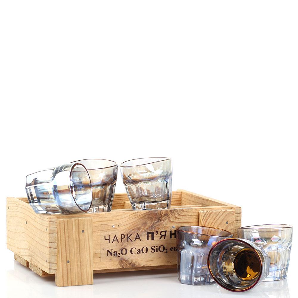 Набор из 6 граненных стопок Fomichov Brothers Пьяное стекло в деревянном ящике