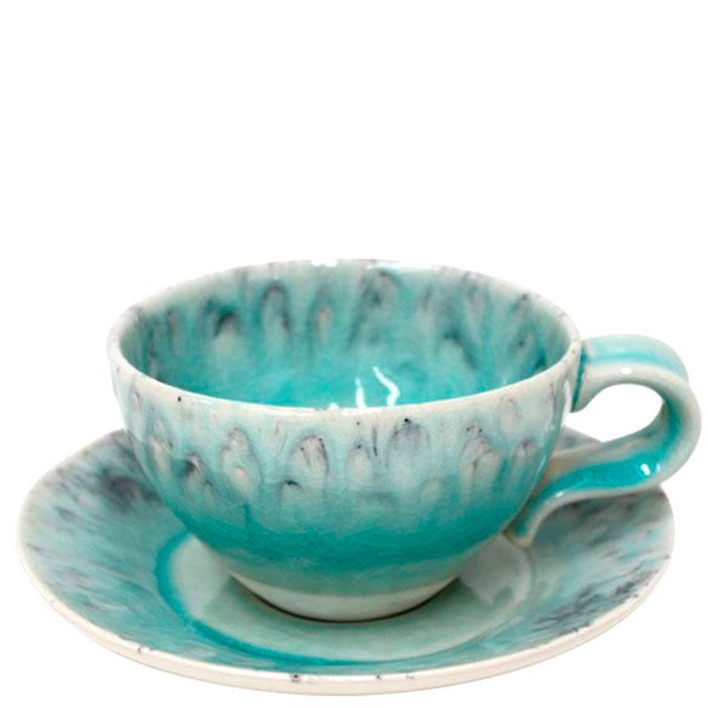 Чашка с блюдцем для чая Costa Nova Madeira голубого цвета